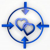 Illustration Of A Playful Two Hearts Icon In Focus Point