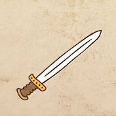 Cartoon Weapon. Cute Hand Drawn Vector illustration, Vintage Paper Texture Background