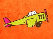 Airplane. Cute Hand Drawn Vector illustration, Vintage Paper Texture Background