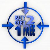 Buy Two Get One Free Label In Focus Point