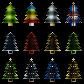 12 Christmas Trees In Led Dots