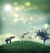 stock photo of hilltop  - Giraffes and an elephant on a hilltop under the moon - JPG