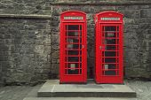 stock photo of phone-booth  - Classic red British telephone box in Edinburgh - JPG
