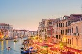 VENICE, ITALY - JUNE 30: View from Rialto bridge on June 30, 2012 in Venice, Italy. Rialto is the bi