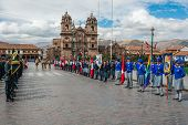 CUZCO, PERU - JULY 14: Army parade in the Plaza de Armas at Cuzco Peru on july 14th, 2013. This plaz