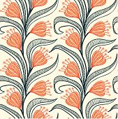 Pattern with stylized drawings of flowers