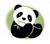 Panda bear with bamboo. Vector illustration.