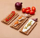 picture of marinade  - Crispbread with cheese and herring onions sweet marinaded pepper - JPG