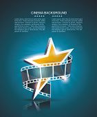stock photo of positive negative  - Film strip roll with gold star - JPG