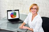 Businesswoman Smile At Desk