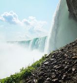 Side view of the Canadian border of Niagara falls