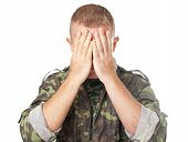 Army Soldier Closing Eyes With Hands