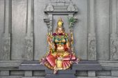 stock photo of lakshmi  - A colorful stone wall statue of the Hindu deity Lakshmi Goddess of wealth prosperity light wisdom fortune fertility generosity and courage - JPG