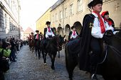 ZAGREB, CROATIA - 18 October: Lineup Cravat Regiment at a ceremony celebrating the day tie on 18 Oct