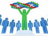 picture of praising  - Blue people in circle around green man with DNA chain - JPG
