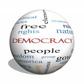 Democracy 3D Sphere Word Cloud Concept