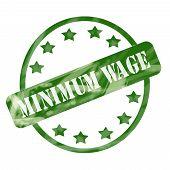 Green Weathered Minimum Wage Stamp Circles And Stars