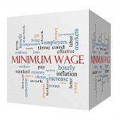Minimum Wage 3D Cube Word Cloud Concept