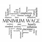 Minimum Wage Word Cloud Concept In Black And White