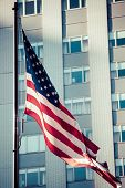 American Flags Outside A Building