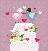 wedding cake with birds in love