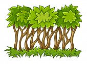 bush with green leaves on grass. Rasterized illustration.