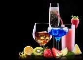 foto of scotch  - different alcohol drinks set   - JPG