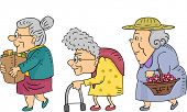 Illustration of Elderly Women Walking in a Line