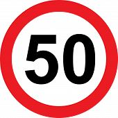 50 speed limitation traffic sign