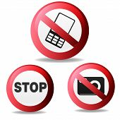 Vector illustration of Stop sign, no photography, do not talk on a cell phone