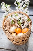 Basket with Easter colored eggs