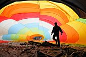 Man inflating a hot air balloon