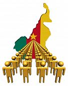 Lines of people with Cameroon map flag illustration