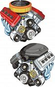 picture of combustion  - old and modern car power engine of internal combustion - JPG