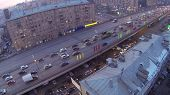 Traffic at Gavrikova Street (Third Ring Road) at evening in Moscow, Russia. Aerial view