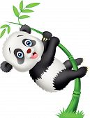 stock photo of pandas  - Vector illustration of Cute panda cartoon climbing bamboo tree - JPG