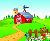 foto of track home  - Vector illustration of Farm cartoon background isolated on white background - JPG