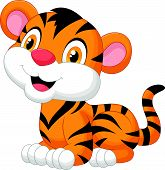 stock photo of tiger cub  - Vector illustration of Cute baby tiger cartoon - JPG
