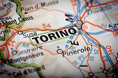stock photo of torino  - Map Photography: Torino city on a road map