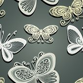 Seamless Ornate Pattern with Butterflies (Vector)