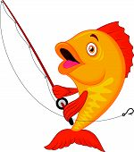picture of catching fish  - Vector illustration of Cute fish cartoon holding fishing rod - JPG