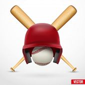 Symbol of a baseball. Helmet, ball and two bats. Vector.