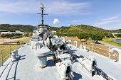 pic of battleship  - The battleship in the garden and blue sky - JPG