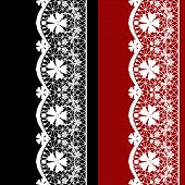 White Seamless Lacy Lace Pattern On Black Red