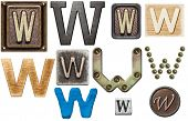 Alphabet made of wood, metal, plasticine. Letter W