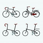 Bicycles 4 Styles. Vector