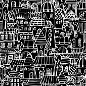 Cartoon fairy tale drawing houses seamless pattern