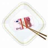 Plate Chopsticks And Ten Euro Pack