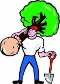 image of arborist  - Illustration of gardener arborist tree surgeon carrying a tree and holding shovel viewed from front on isolated white background done in cartoon style - JPG