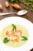Pea Cream Soup With Shrimps